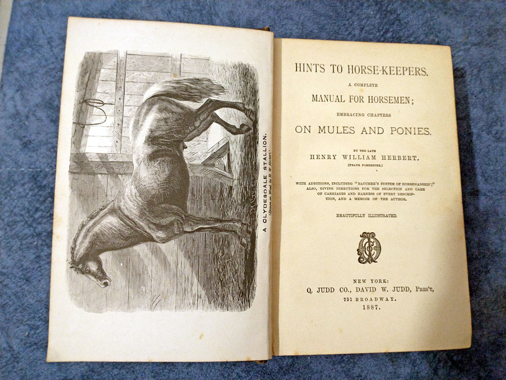 Vintage book: hints to horse keepers by henry william herbert